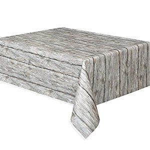 Rustic Wood Plastic Tablecloth, 108