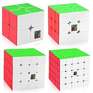 D-FantiX Speed Cube Bundle, Moyu Mofang Jiaoshi MF2S 2x2 MF3S 3x3 MF4S 4x4 MF5S 5x5 Stickerless Maig Cube Set with Gift Box