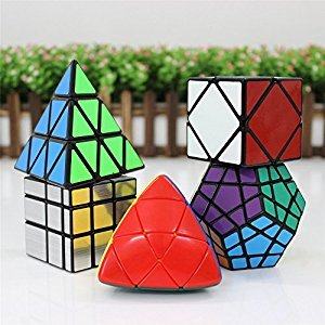 Elloapic Shengshou Pyraminx Black + Mastermorphix Stickerless + Mirror Block Silver + Megaminx Dodecahedron Black + Skewb Speed Puzzle Magic Cube Black