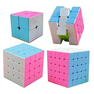 HJXD global Magic Cube Set 4 Pack 2x2x2 3x3x3 4x4x4 5x5x5 Stickerless Speed Cube Pink