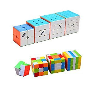Magic Cube Puzzle & Puzzle Cube Pack (4 Pack of 2x2x2 , 3x3x3 , 4x4x4 , 5x5x5)