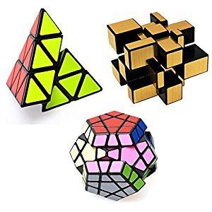 Ting-W Set of Shengshou Magic cube 3X3 Puzzle Speeding Twisty Solver education toys: Pyraminx cube+Mirror Cube+ Megaminx Cube