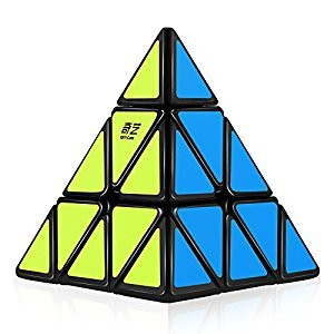 D-FantiX Qiyi Qiming Pyraminx 3x3 Speed Cube Triangle Magic Cube Puzzle Chrisiftmas Toys Gts for Kids (Black)
