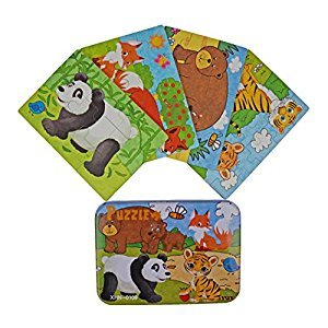 "Vileafy Jungle Animal Series Jigsaw Puzzle Sets, 4-Pack 4 Complexities, Best for 3-5 Years Old Babies to Develop Dexterity and Problem Solving, Free Iron Box for Easy Storage, 6 1/2"" X 4 1/2""."