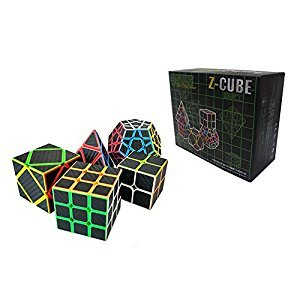 I-xun Carbon Fiber Speed Magic Cube Bundle, 2x2 3x3 Pyraminx Skewb Megaminx Cube - 5 Pack