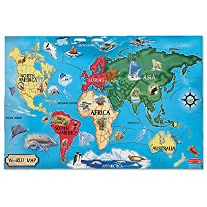 Melissa & Doug World Map Jumbo Jigsaw Floor Puzzle (33 pcs, 0.6 x 0.9 meters)