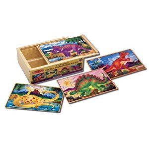 Melissa & Doug Dinosaurs 4-in-1 Wooden Jigsaw Puzzles in a Storage Box (48 pcs)