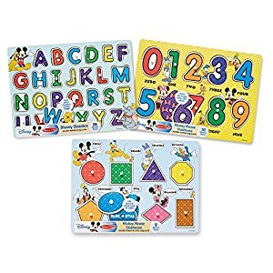 Melissa & Doug Disney Wooden Peg Puzzles Set: Letters, Numbers, and Shapes and Colors