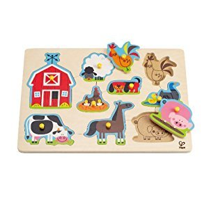 Hape Farm Animals Toddler Wooden Peg Puzzle