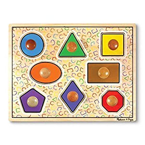 Melissa & Doug Geometric Shapes Lg Wooden Peg Puzzle (8 pcs)