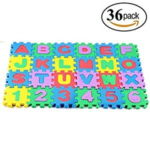 36pcs Alphabet Numbers Foam EVA Puzzle Mat Toys for Kids and Babies,Non-Toxic Interlocking Floor Children & Toddler Room Soft EVA Puzzle for Infant