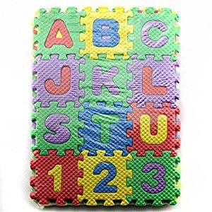 Amyove Play Puzzle Mat 36 Pieces Child Cartoon Letters Numbers Foam Play Puzzle Mat Floor Carpet Rug for Baby Kids Home Decoration