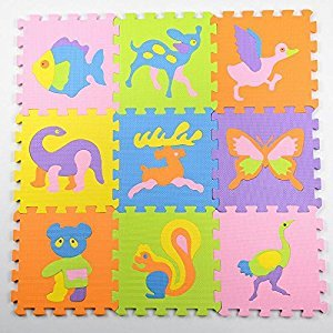 Jcdlits@ Puzzle Play Mat Jigsaw with Borders Kids Multi-Color Safe Baby Playground Soft Padded Floor Protection EVA Foam Interlocking Tiles Non-Toxic (10pcs) (style3)