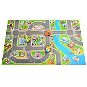 Kids Race Track Rugs Fcoson Carpet Play Mat Town Road Rug with Cars and Toys for Toddlers Boys Girls
