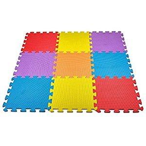 MEDca Floor Play Mat EVA Interlocking 10pk 11.5x11.5 Inches Assorted Soft Colors