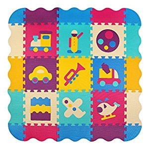 Meiqicool Puzzle Play Mat with Fence | Baby Crawling Mat | Toddler Foam Playmat Set | Infant Play Gym Mat | Floor Mats for Kids , Cute Cartoon Car Plane ,P024B3010
