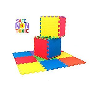 NON-TOXIC 9 Piece Children Play & Exercise Mat - Foam Floor Puzzle Blocking Mats, 6 Vibrant Colors for Kids, Toddlers or Baby