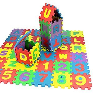 Perman 36Pcs Kids Baby Number Alphabet Learn Educational Puzzle Foam Mat