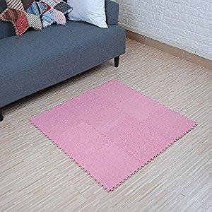 yazi Interlocking Foam Puzzle Floor Mat Set Baby Child Pink Color Set of 9 ,Each tile is 1 sqft 12