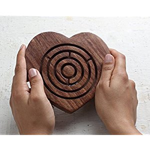 Ball in Maze Wooden Heart Shaped Labyrinth Puzzle Holiday Board Game Travel Toy Brain Teaser for Kids Adults