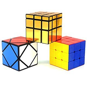 Heddi Magic Speed Cube Puzzle Stickerless Skewb Mirror Cubes - Glod 3*3*3 Brain Teaser Puzzle Cube Bundle Box Pack
