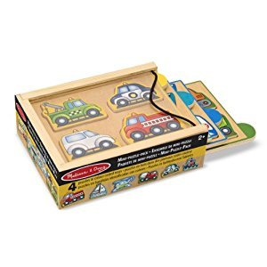 Melissa & Doug Vehicles Wooden Mini-Puzzle Set With Storage and Travel Case
