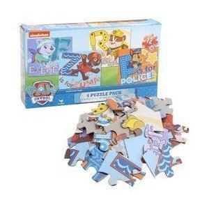 Paw Patrol Puzzle Set ~ 4-pack of 12-piece puzzles featuring Everest, Rubble, Zuma, and Chase