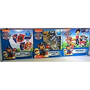 Three-Pack Paw Patrol Games & Puzzle - Jumbo Playing Card - Popper Jr. Game - 24-Piece Paw Patrol Puzzle