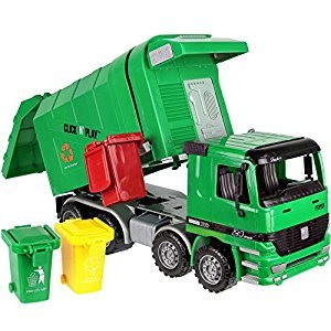 Click N' Play CNP0301 Friction Powered Garbage Truck Toy with Garbage Cans Vehicle