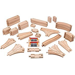 Playbees Wooden Train Track Set 59 Pcs, Wooden Railroad Pieces Compatible w/ Brio and Most Name Brand Wood Railway Systems, Perfect for Preschool Toddler Boys and Girls