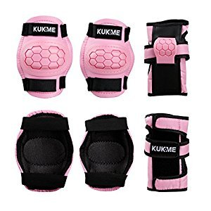 Kids' Protective Gear Elbow and Knee Pads Wrist Guard for Children Roller Skateboard Bike Sports (Pink, M)