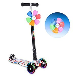 KUOKEL Children Folding Kick Scooters Age 4-10 Flashing PU Wheels 3 Wheel Adjustable Height Handle with Mini Winnower White
