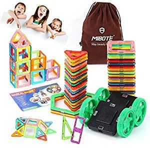 (45 PCS)Magnetic Building Blocks Educational Stacking Blocks Toddler Toys Preschool Boys Grils Toys with Car wheel Toy Set for Kid's Educational and Creative Imagination Development By Mibote