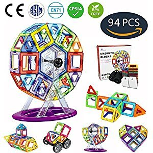 Jasonwell 94 PCS Creative Magnetic Building Blocks for Boys Girls Magnetic Tiles Building Set Preschool Educational Construction Kit Magnet Stacking Toys Christmas Gift for Kids Toddlers Children