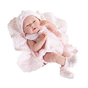 JC Toys La Newborn Pretty in Pink Knit Blanket Gift Set. Realistic 15-Inch Anatomically Correct Real Girl Baby Doll-All Vinyl Designed by Berenguer