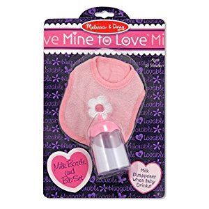 Melissa & Doug Mine to Love Disappearing Liquid Milk Bottle and Bib for Dolls