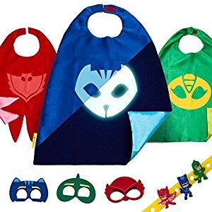 PJ Masks Costume Kids Toys - Gekko Owlette & Catboy 3 Birthday Party Cape Mask
