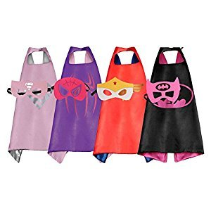 RioRand Heros Dress Up Costumes 4 Pack Satin Capes with Felt Masks for Girls