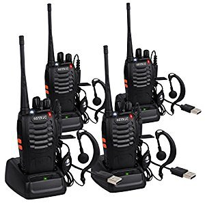 ESYNIC Walkie Talkies Long Range UHF 400-470MHz Rechargeable Two Way Radio Walky Talky With Earpieces Flashlight 16CH Single Band FM Handheld Transceiver USB Cable Plug Adapter 4 PCS