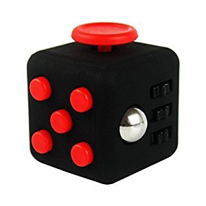FidgetPro De-Stress Fidget Cube, Red on Black