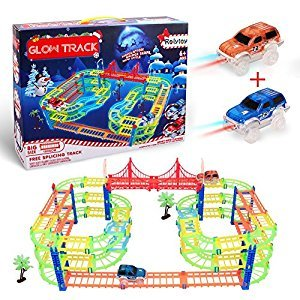 Glow Race Track, Magic Glow in the Dark Track Cars Toys Inovative Technology Routing Flexible Assembly Track Race Series +2 Light Up Race Car 169 Pcs for Kids by Rolytoy