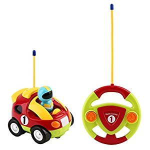 RC Car Toy, YKS RC Cartoon Race Car with Music and Lights Electric Radio Remote Control Car Toy for Baby Toddlers Kids and Children(Red)