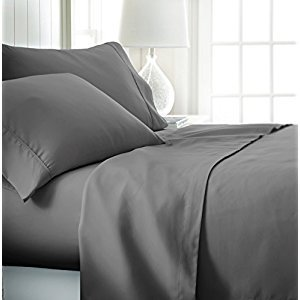 ienjoy Home Hotel Collection Luxury Soft Brushed Bed Sheet Set, Hypoallergenic, Deep Pocket, Queen, Gray
