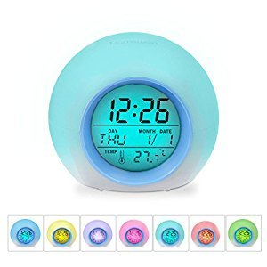 [Kid's Gifts] 7 Colors Changing Alarm Clock, HAMSWAN Nature Sounds One Tap Control Sleep-Friendly with Indoor Temperature Display for Working Parents, Students etc (Light Blue)