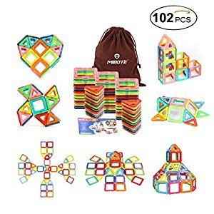 (102 PCS)Magnetic Building Blocks Educational Stacking Blocks Toddler Toys for Preschool Boys Grils Educational and Creative Imagination Development By Mibote