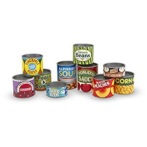 Melissa & Doug Let's Play House! Grocery Cans Play Food Kitchen Accessory - 10 Stackable Cans With Removable Lids