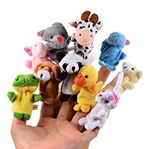 Itian 10pcs Different Cartoon Animal Finger Puppets Soft Velvet Dolls Props Toys