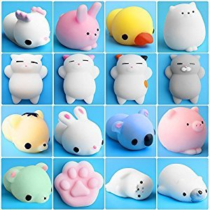 Mini Squishies, Outee 16 Pcs Mochi Squishy Toys Squeeze Stress Toys Squishy Mochi Squishy Stress Cat Kawaii Animals Mochi Cat Squishy Kawaii Squishies Mini Cat Squishy Toy Animals