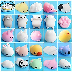 Mochi Squishies, Outee 25 Pcs Squishy Toys Cat Stress Relief Squishy Mochi Animals Mini Squishies Stress Cat Squishy Squeeze Stress Toys Squishy Mochi Cat Mochi Seal Squishy Random Squishies