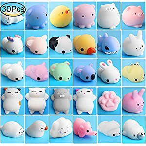 Mochi Squishy Animals, Outee 30 Pcs Squeeze Toys Squishy Mini Squishy Stress Cat Toy Squishy Mochi Cat Mochi Seal Squishy Animals Stress Random Squishies Stress Toys Mochi Squeeze Animals